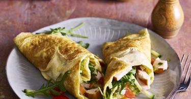 Omelet wrap met kip, kaas en groente