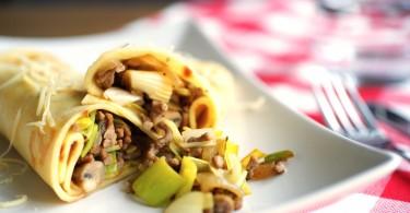 Hartige pannenkoek met gehakt, prei en champignons