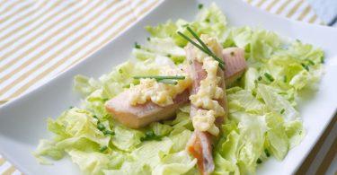 Salade met forel en appelmayonaise