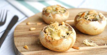 Vegetarische gevulde champignons
